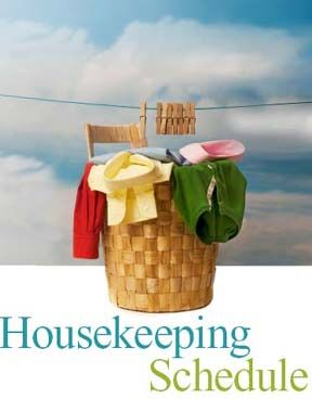 Free Printable - Daily Housekeeping Schedule from Time-Warp Wife.  This breaks it down into a do-able schedule so you're not doing so much at once. A little every day and the house will always be clean. :)