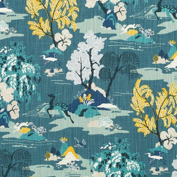 Turquoise Toile Upholstery Drapery Fabric by by PopDecorFabrics