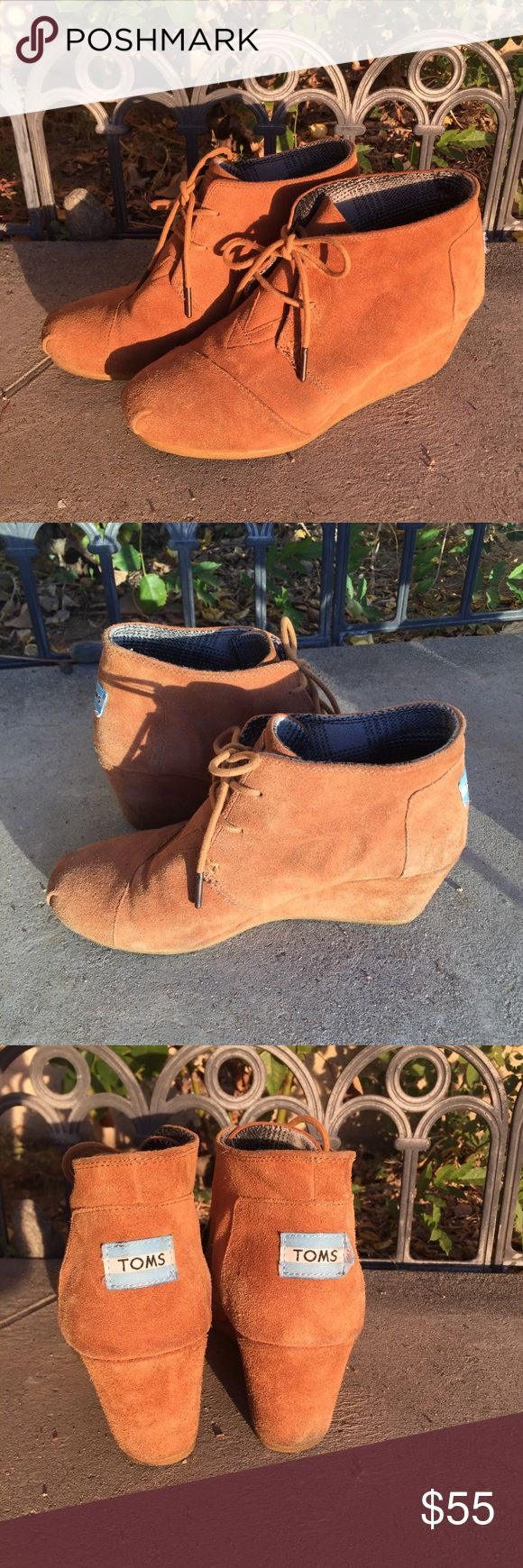 Toms wedge booties camel cognac brown I'm excellent condition, worn only couple times. Very minor visible wear Toms Shoes Ankle Boots & Booties