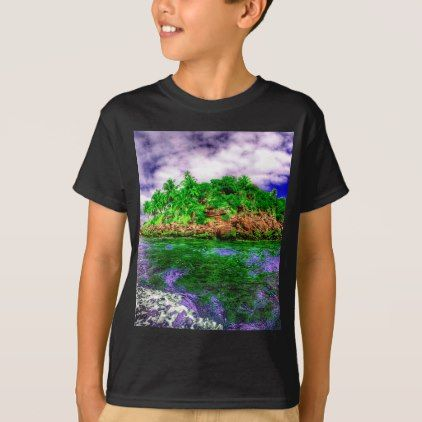 Tropical Island Oasis T-Shirt - ocean side nature waves freedom design