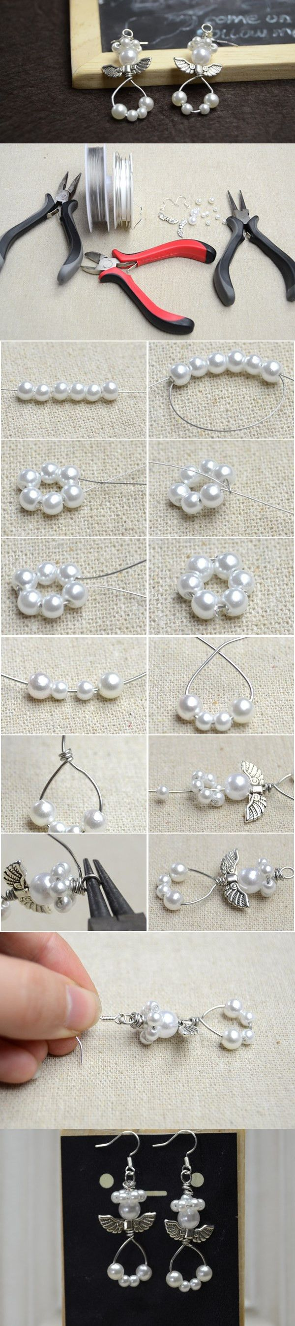 Cute Handmade Pearl Beaded Angel Dangling Earrings DIY #earrings angelearrings #pandahall