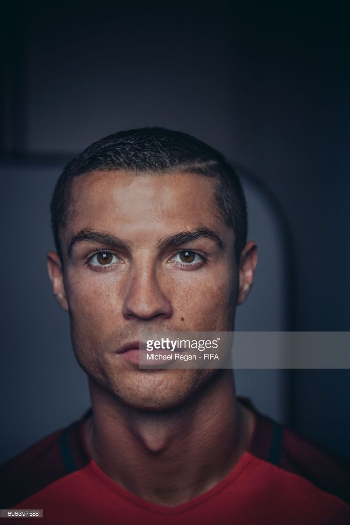 Cristiano Ronaldo poses for a picture during the Portugal team portrait session on June 15, 2017 in Kazan, Russia.