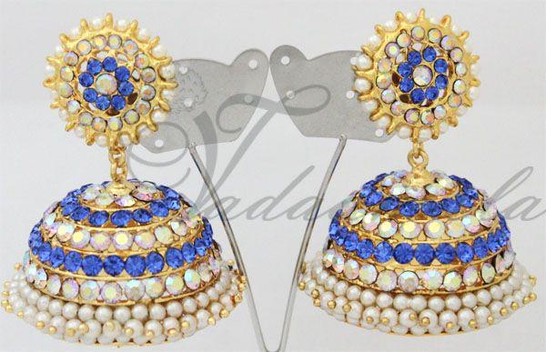 Large Jhumka design ear studs. Blue colour stones  http://www.vadaamalar.com/blue-stone-jhumkas-3994.html