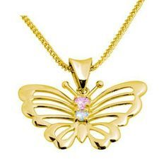 Gold Butterfly Pendant with Zirconia - BEE-64635-CZP