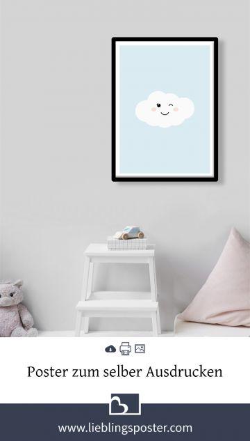 Blaue Wolke Poster kinderzimmer, Ausdrucken und Diy