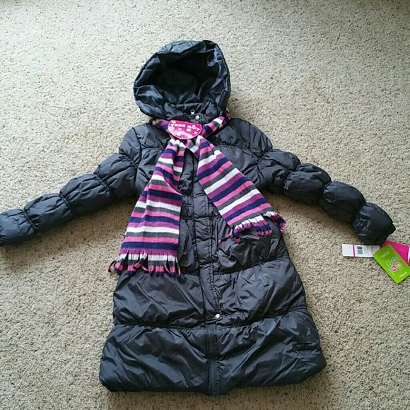 Girls Down Hooded Long Puffer Coat❄ Details This long puffer jacket provides full coverage and a thick down alternative filling for maximum warmth. With elasticized wrists, flaps on the hood, and a fleece bonus scarf, your little one will look darling and keep warm. FREE SCARF. Currently on Overstock for $50 Sportoli Outerwear  Jackets & Coats Puffers