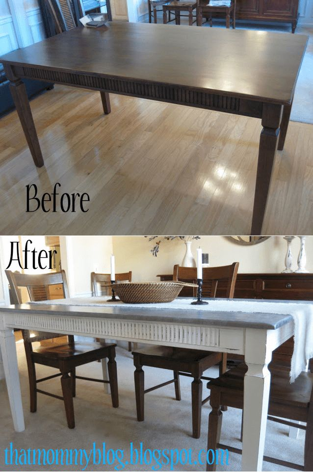 Dining table makeover before and after painting look like zinc covered top. Get other ideas with visit site.