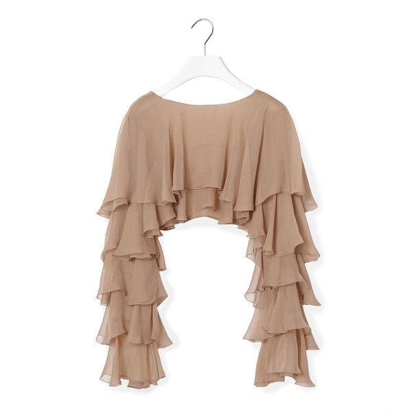 Balmain Ruffled Top (£1,390) ❤ liked on Polyvore featuring tops, sweaters, ruffle top, long sleeve sweaters, silk sweater, long sleeve v neck sweater and silk top