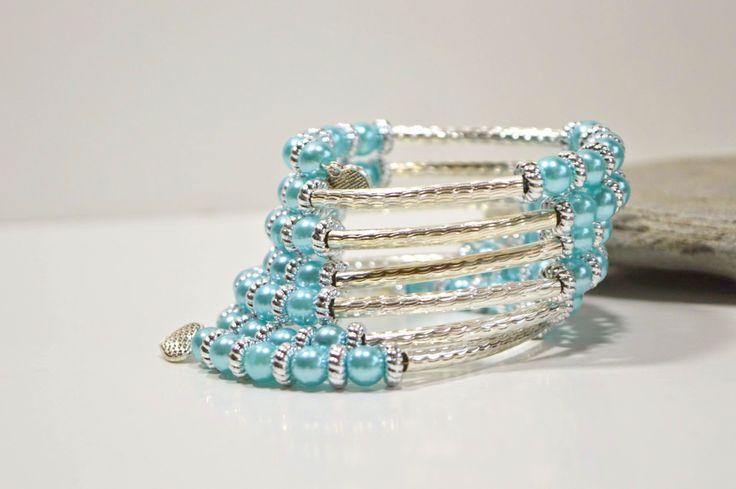Ovall Light Blue Bracelet //  Beaded   Bracelet // Memory Wire // Cuff  Bracelet// Bridal Bracelet by FourSeasonsCreations on Etsy