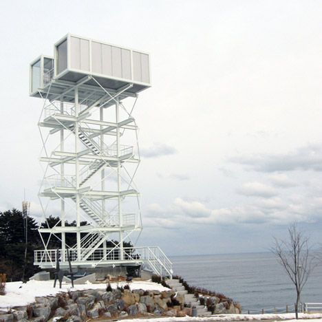 two shipping containers provide a sea-facing observation deck atop this tower in south korea • didier faustino • via dezeen