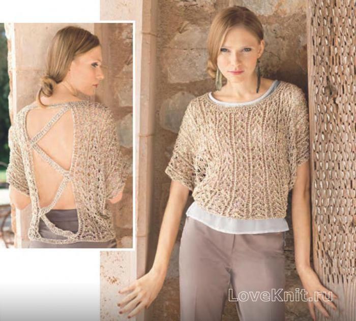 Схема спицами бежевый пуловер с открытой спиной