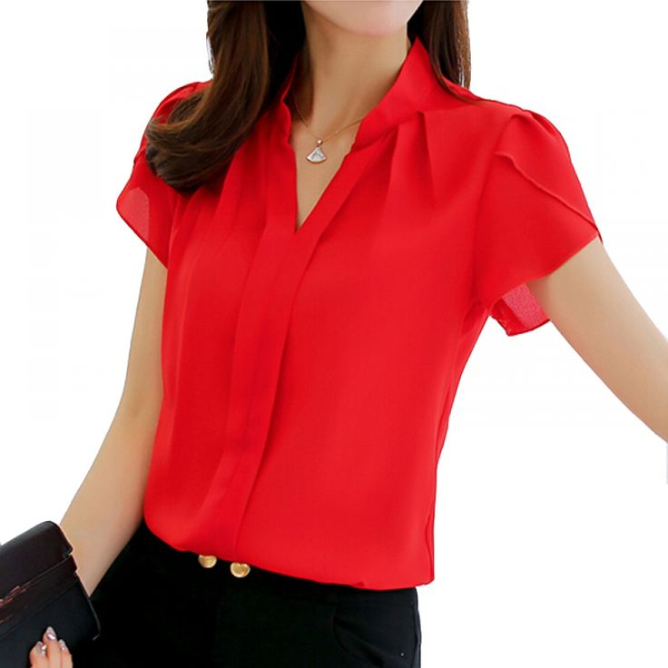 Women's Formal Short Sleeve Chiffon Shirts