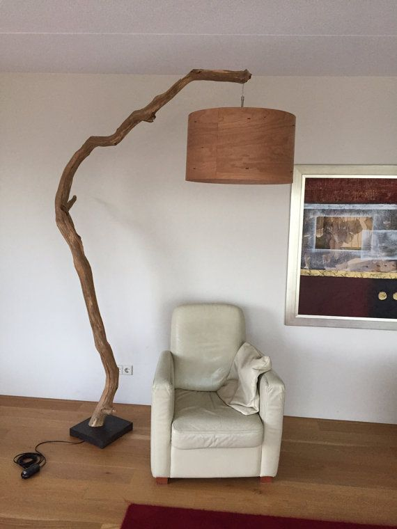 Floor lamp Arc Lamp  made of Oak branch on natural por GBHNatureArt