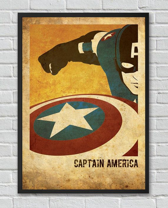 captain america the avengers inspir affiche cin ma vintage on etsy 8 28 kid room. Black Bedroom Furniture Sets. Home Design Ideas