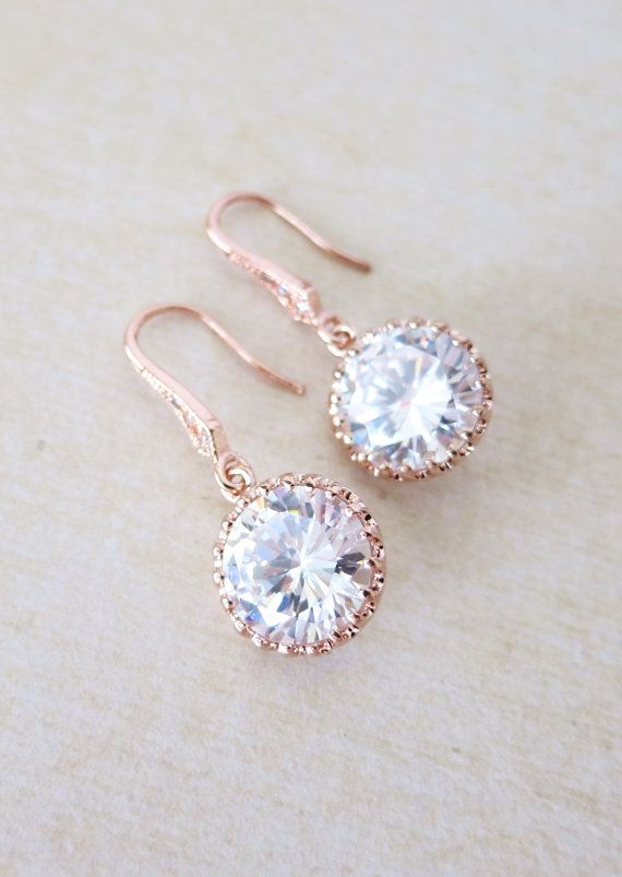 Rose Gold Cubic Zirconia Round drop Earrings - gifts for her, earrings, bridal gifts, pink rose gold weddings, bridesmaid earrings jewelry, www.colormemissy.com