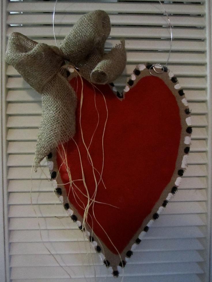 Valentine Day Burlap Door Hanger Valentine Decoration Heart Burlap. $28.00, via Etsy.