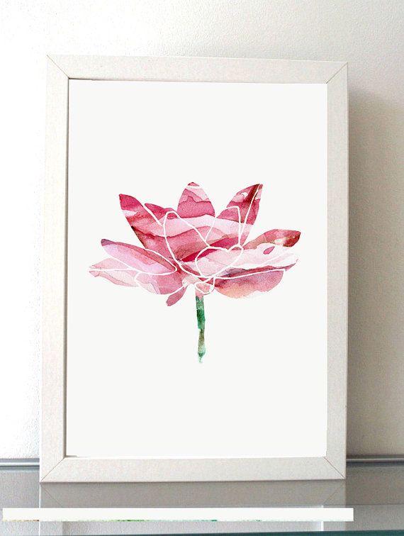 Lotus illustratie  giclee print  schilderij door Lemonillustrations