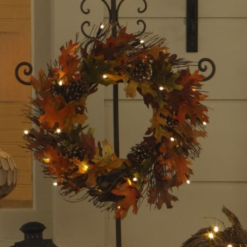 Autumn Leaf Wreath With Lights Love Warm Fall Colors