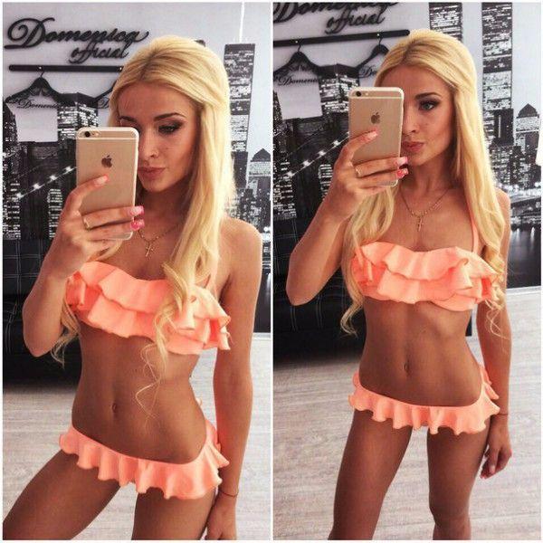 Summer Women Bikini Ruffle Bandeau Low Waist Swimwear Pleated Halter Swimming Drees Biquini Set for Female #jewelry, #women, #men, #hats, #watches, #belts