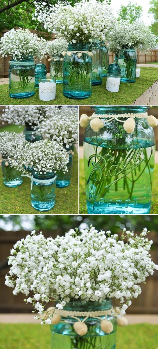 blue and purple mason jars, with white wild flowers that grow, then have either burlap, lace, or both around jar as well (that way you don't need as many color flowers, can get white ones cheap from the ditches!
