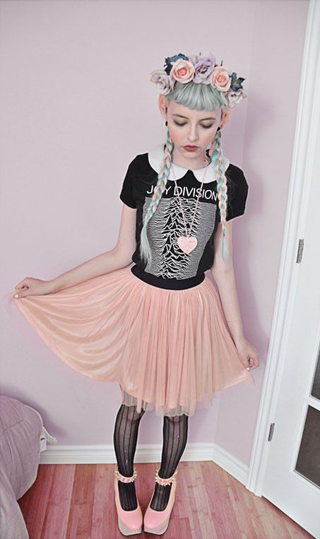 Pastel Pink Tulle Skirt, Ardene Black Lace Tights, Pink Horse Shoes, Floral Crown, and a Band T Over a White Collared Dress - http://ninjacosmico.com/16-fashion-tips-how-to-dress-fairy-kei/