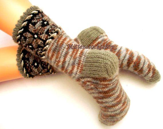A mano a maglia angora calze di lana che di mittenssocksshop