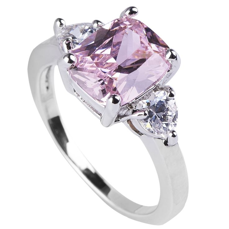 Queenwish Pink Sapphire Engagement Rings Princess Cut in Sterling Silver Wedding Jewelry Sizes 5 to 9 *** Startling review available here  : Engagement Rings