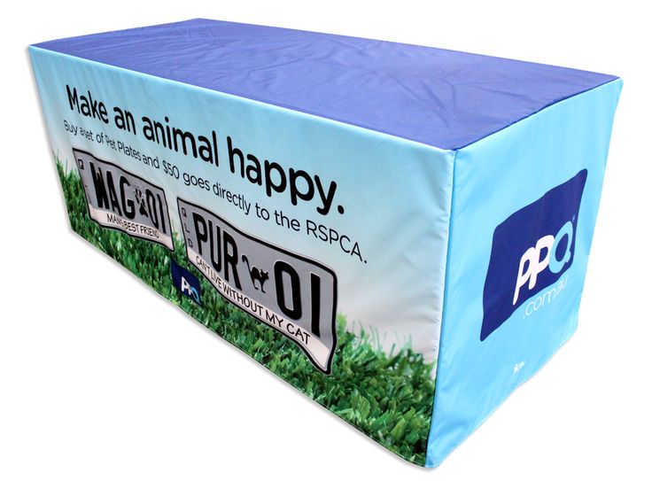 Love your pets? Express it with personalised plates! Love your company? Express it with personalised Table Covers! Want more products to promote your brand? Visit www.staroutdoor.com.au or call the branding experts on 1300 721 877.