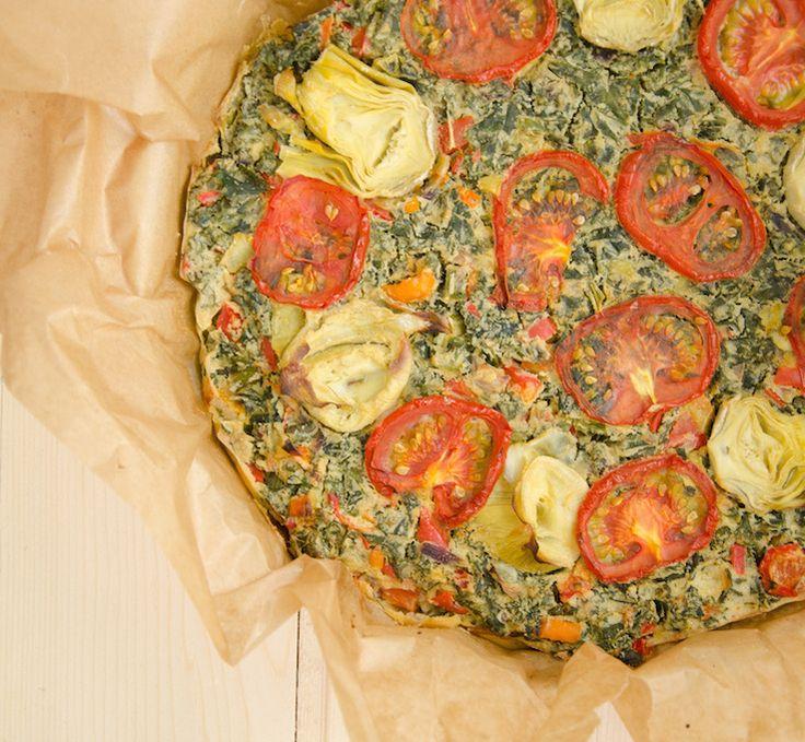 glutenvrije, vegan quiche van kikkererwtmeel met de groente die momenteel de wereld verovert.. Boerenkool!