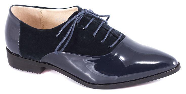 Pantofi fara toc - Pantofi navy cu siret 51905N - Zibra