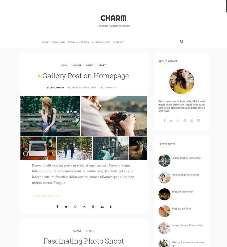 Charm Personal Minimalist Blogger Template, new features, gallery, rich look by OddThemes on Etsy