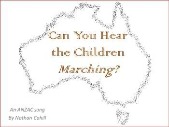 """Can You Hear the Children Marching"" is an original ANZAC Day song by Nathan Cahill. Sung by over 150 Australian schools in 2014 alone, the song perfectly demonstrates the 'pride of ANZAC' to both performers and audiences alike! This 'Essential Kit', designed for classroom or presentation use, includes:  Lyric video with vocals Lyric video (backing only) Vocal mp3 Backing mp3 Chord Chart Simplified chord chart Vocal/lead sheet Piano score Piano/vocal score Lyric Sheet Powerpoint file Song…"