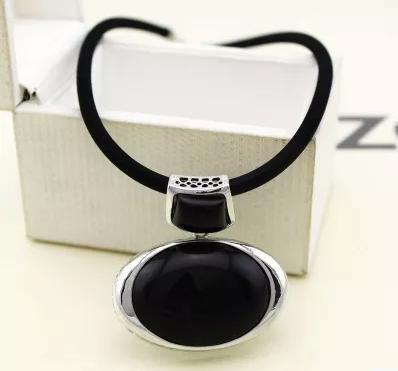 Women's Vintage Pendant Necklace Big Black Stone Pendant with Leather