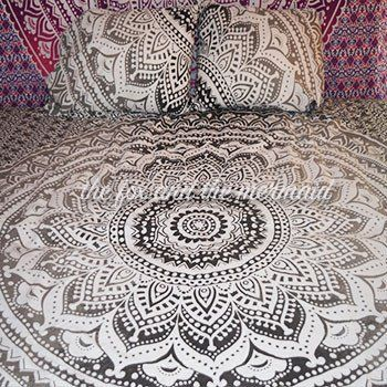 This boho-chic grey and black ombre bedding is available as a duvet cover, flat sheet, pillowcase set or any combination of the three. Twin duvet cover measures approximately 50 x 82 inches. The queen