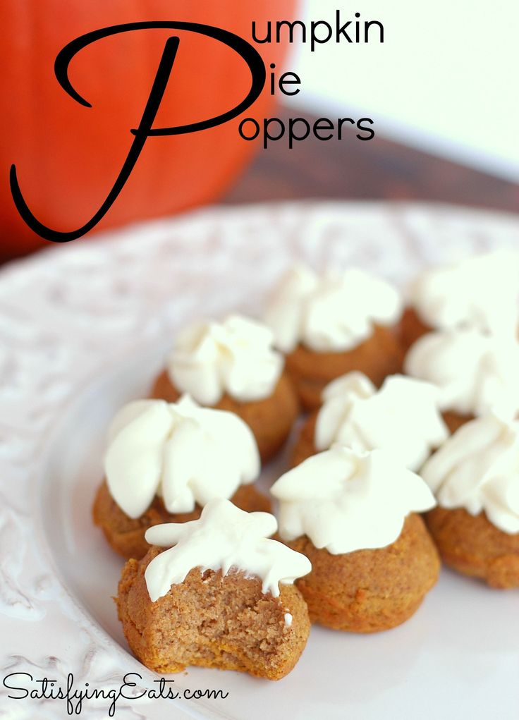 These Pumpkin Pie Poppers are perfect for any holiday party and the recipe and ingredients list are SO simple! They are easy as Pumpkin Pie! www.satisfyingeats.com