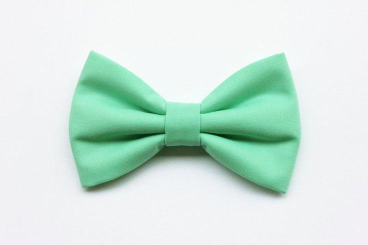 Papillon verde menta, per uomo, matrimonio, cotone di Scocca Papillon su DaWanda.com
