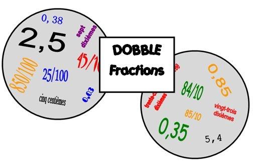 Jeu de Dobble - fractions décimales et nombres décimaux