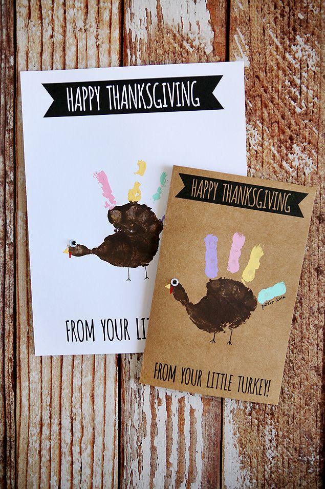 Handprint Turkey Cards | Thanksgiving Kids Craft