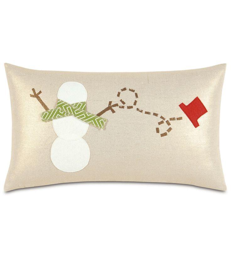 Windblown Snowman Down Pillow- 13x22