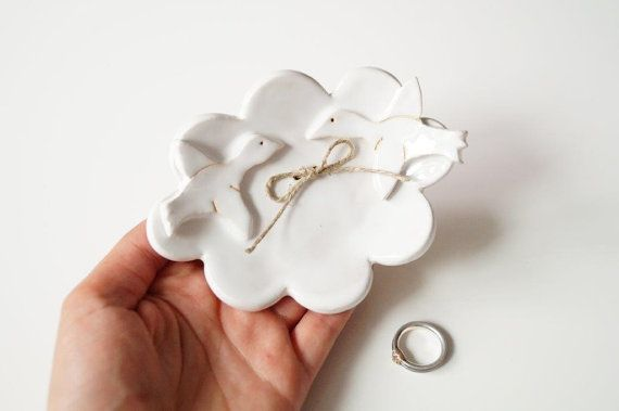 Wedding Ring Dish Bird Plate Cloud Shaped Plate by HerMoments
