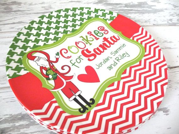 Personalized Cookies for Santa Melamine Plate by monkeyseeboutique