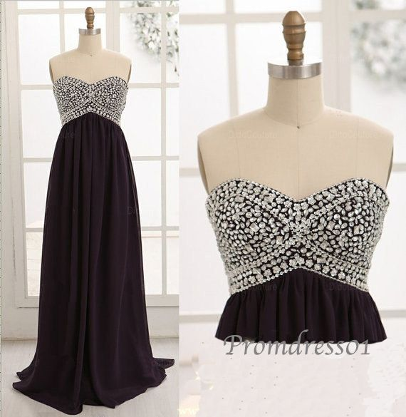2014 beaded black sweetheart strapless chiffon long sweep prom dress for teens, ball gown, evening dress #promdress