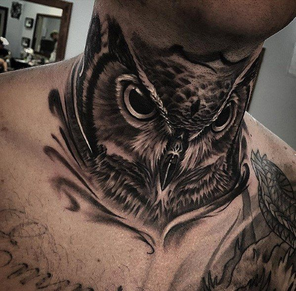 30 Owl Neck Tattoo Designs For Men – Bird Ink Ideas – Yolanda A.M.