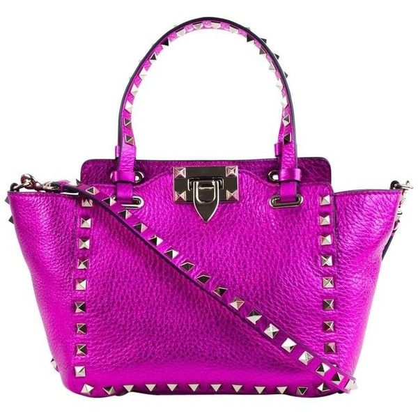 Preowned Valentino Metallic Mini Rockstud Trapeze Pink Tote Bag ($900) ❤ liked on Polyvore featuring bags, handbags, tote bags, pink, totes, purple leather handbags, leather tote purse, leather purses, summer totes and purple leather tote