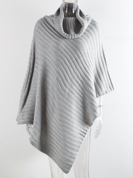 Simplee Apparel Women's Turtleneck Knitted Poncho Pullovers Sweater,Gray,One Size