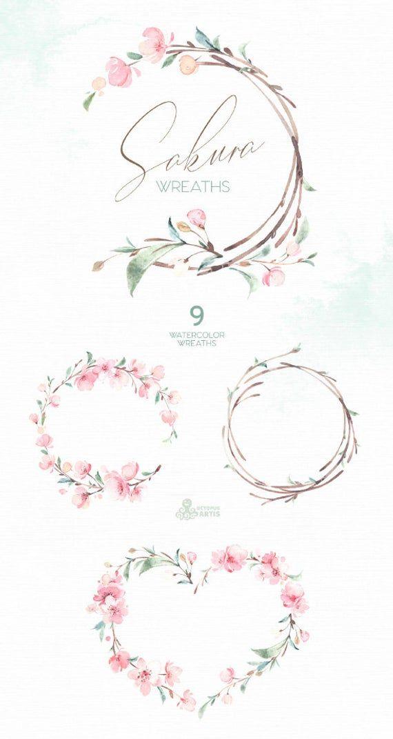 Sakura Wreaths Watercolor Floral Clipart Cherry Blossom Etsy Acuarela Floral Flor De Cerezo Clipart