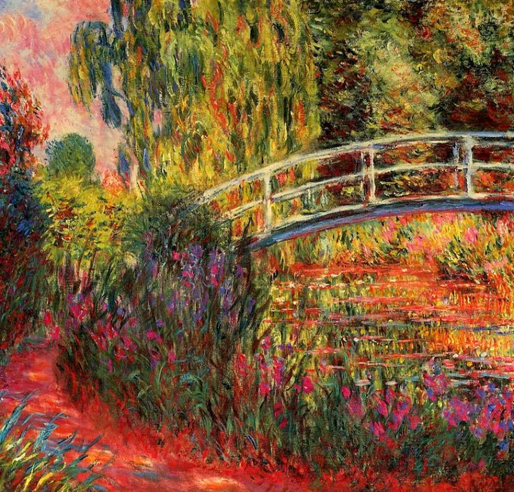 Claude Monet. The Japanese Bridge - The Water-Lily Pond, Water Irises (1900).