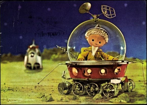 Ansichtskarte / Postkarte Sandmann, Raumfahrzeug, Landekapsel, DDR Fernsehen
