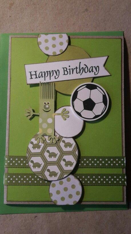 Fødselsdagskort. Dreng. Grønne nuancer. Fodbold. Trold.