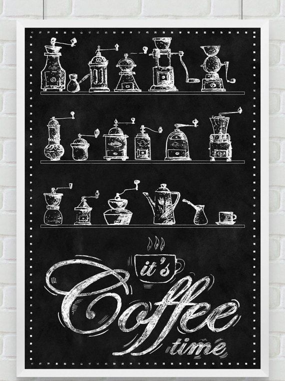 """Wall Art Print- Kitchen Chalkboard-Antique Coffee Grinders-Beans-Vintage Windmill-Coffee Collectibles-It's Coffee Time-Print  8.5x11"""" No.493"""